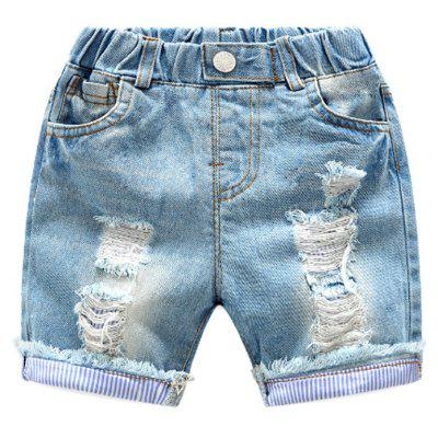 Buy LAPIS 100 Elastic Waist Hole Children Denim Shorts Summer Baby Pants Pants Summer New Childrens Boys Five Pants for $22.71 in GearBest store