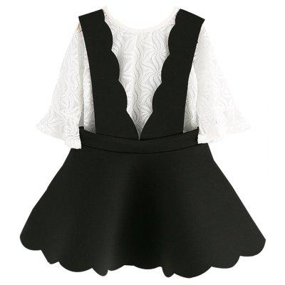 Two Children with Black And White Suit Small Girls In Korean Horn Hollow Sleeves Children Suspenders Skirt Summer