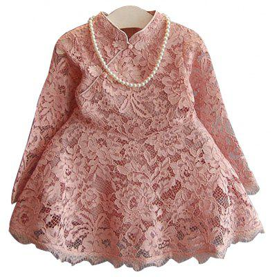 Buy PAPAYA 120 Girls Lace Dress Childrens Wear2017 Spring And Autumn Seasonnew Children Hollow Skirt Princess Trumpet,Sleeve Babysweet Skirt for $26.32 in GearBest store