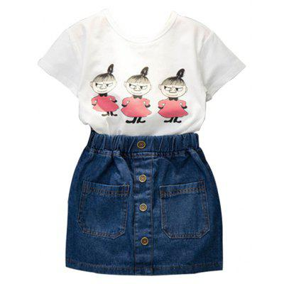2017 Summer Edition Childrens Wear Girls Pure Cotton Short Sleeve T-Shirt Genuine Jeans Skirt Set childrens Suit