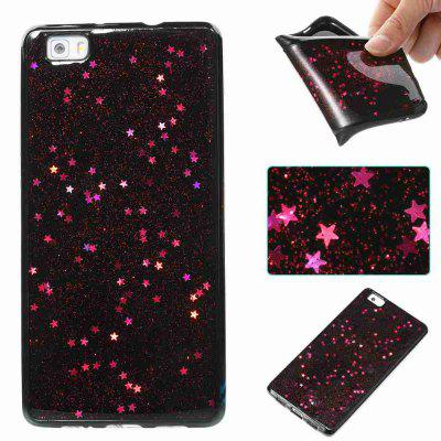 Buy ROSE MADDER Black Five-Pointed Star Painted Dijiao Tpu Phone Case for Huawei P8 Lite for $4.43 in GearBest store