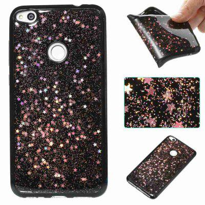 Buy ROSE GOLD Black Five-Pointed Star Painted Dijiao Tpu Phone Case for Huawei P8 Lite 2017 for $4.43 in GearBest store