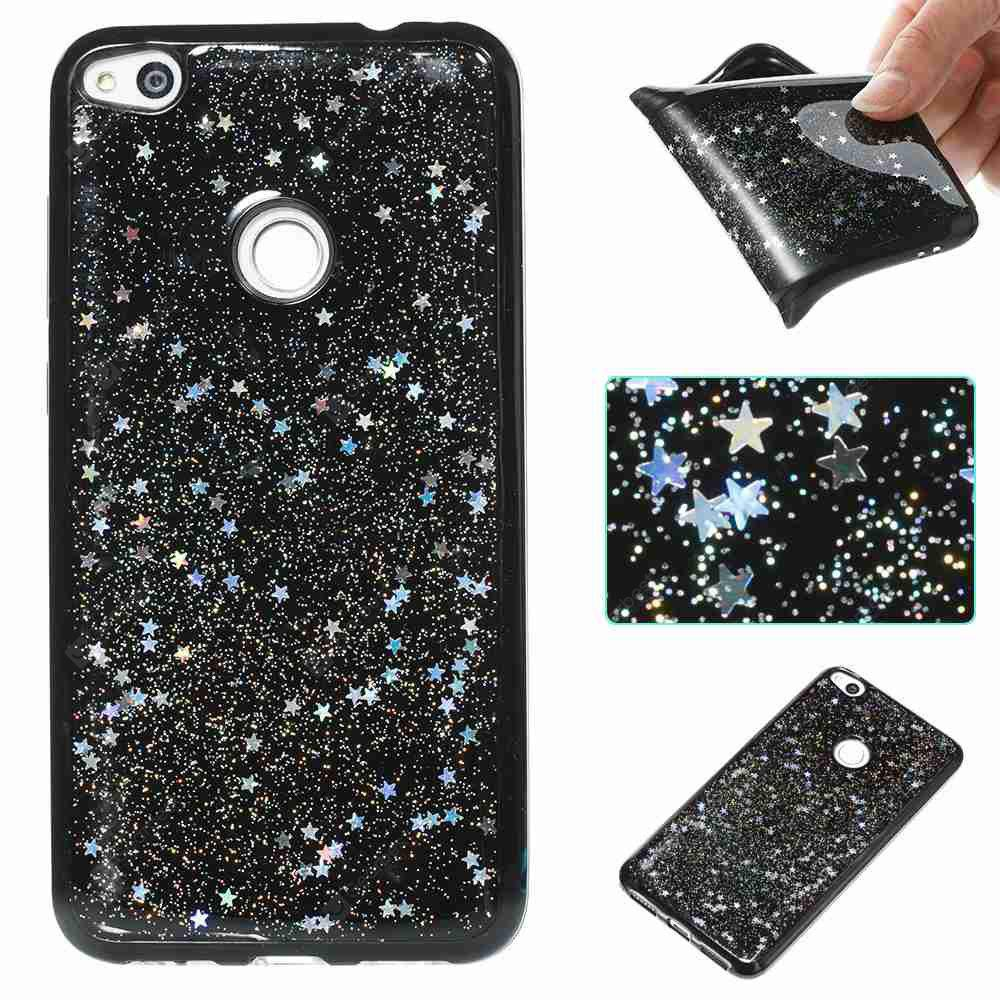 Black Five-Pointed Star Painted Tpu Phone Case for Huawei P8 Lite 2017