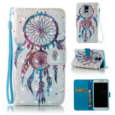 Buy WHITE + BLUE 3D Painted Pu Phone Case for Samsung Galaxy S5 for $5.52 in GearBest store