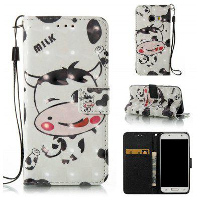 Buy WHITE AND BLACK 3D Painted Pu Phone Case for Samsung Galaxy A3 2017 for $5.46 in GearBest store