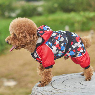 Pet Dog Clothes Red Heart Pattern Jacket Coat