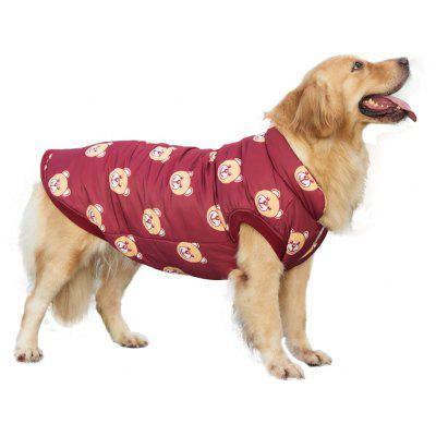 Pet Dog Clothes Bear Pattern Red Jacket