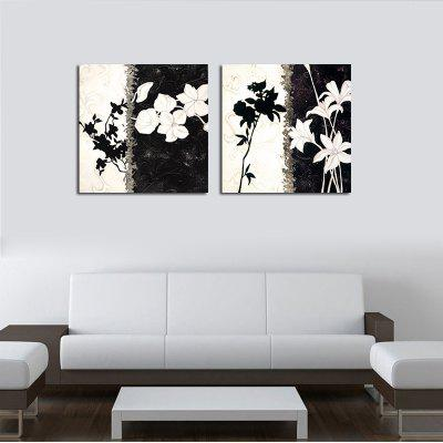 Hx-Art No Frame Canvas Two Sets of Painting A Black And White Abstract Flowers Decorated The Living Room Paintings