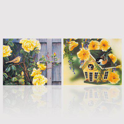 Hx-Art Unframed Canvas Two Picture Sets of Garden Flowers Decorated The Living Room Paintings