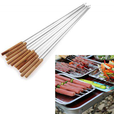 Useful 10PCS Steel Metal Bbq Barbecue Skewer Grill Kebab Needles Stick Wooden Handle Kitchen Needle Outdoor