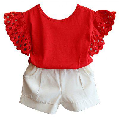 Children Hollow Short Sleeved T-Shirt and Baby Shorts Two Piece Set