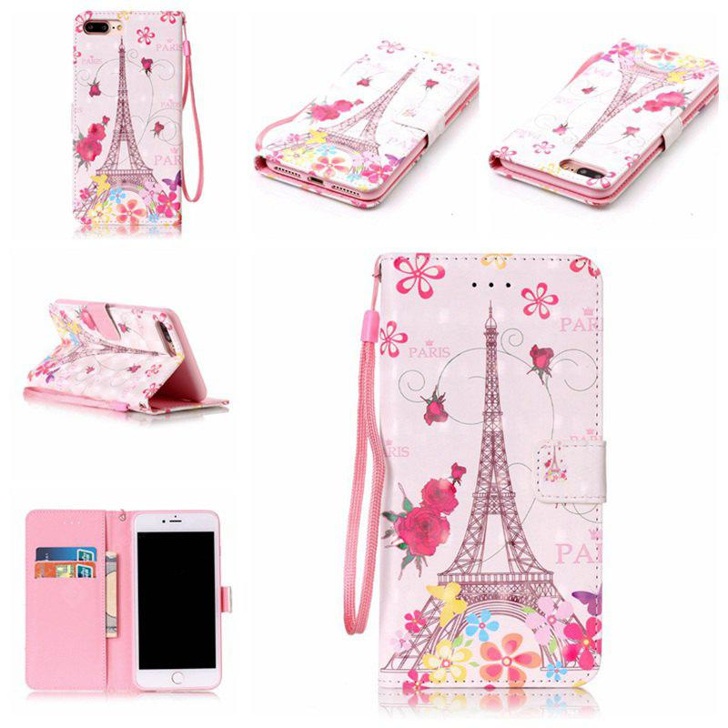 Butterfly Tower3d Pintado Pu Phone Case para Iphone 8 Plus / 7 Plus