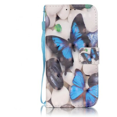 Buy WHITE + BLUE New 3D Painted Pu Phone Case for Samsung Galaxy S6 for $5.49 in GearBest store