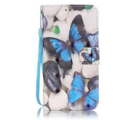 Buy WHITE + BLUE New 3D Painted Pu Phone Case for Samsung Galaxy S5 for $5.40 in GearBest store