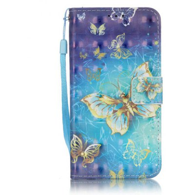 Buy BLUE AND GOLDEN New 3D Painted Pu Phone Case for Samsung Galaxy S5 for $5.40 in GearBest store