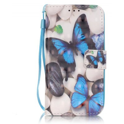 Buy WHITE + BLUE New 3D Painted Pu Phone Case for Samsung Galaxy S4 for $5.28 in GearBest store