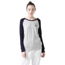 Toyouth Spring Womens Fashion Cotton T-Shirt Casual Loose Patchwork Embroidery Long Sleeves Tee Top