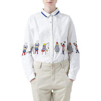 Buy OFF-WHITE M Toyouth Long Sleeve Shirt Women Cartoon Print Shirt Casual Ladies Blouse Turn Down Collar Women Tops for $27.99 in GearBest store