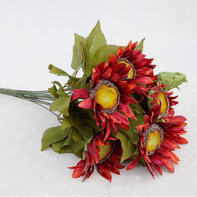 1 Bouquet 13 Heads Retro European Style Oil Painting Feel Red Sunflower Artificial Flowers 50CM
