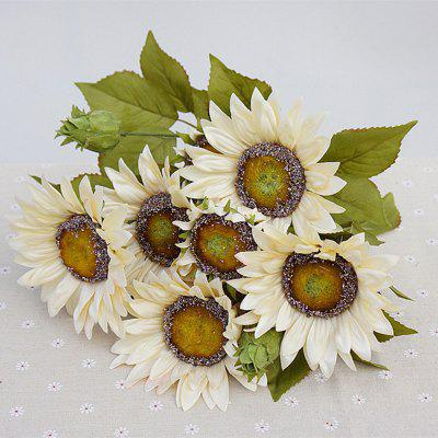 1 Bouquet 13 Heads Retro European Style Oil Painting Feel White Sunflower Artificial Flowers 50CM