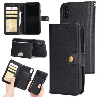 Wkae Premium PU Leather Pouch Case, 2 in 1 Detachable Folio Wallet Stand Cover with Stylish Manetic Rivet Clasp, Lanyard, Holder for iPhone X