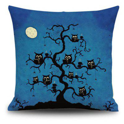 Buy Halloween Night Owl Tree Square Linen Decorative Throw Pillow Case Cushion Cover, COLORMIX, Home & Garden, Home Textile, Bedding, Pillow for $9.00 in GearBest store