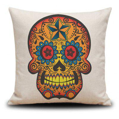 Halloween Golden Skull Head Drawing Linho Almofada decorativa Almofada Estofada