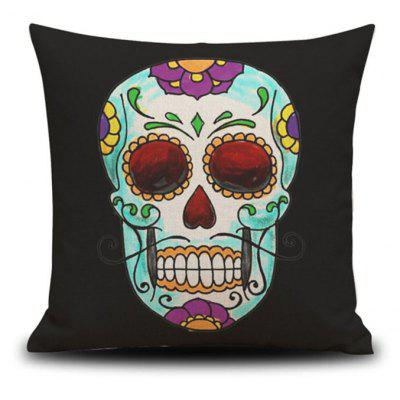 Halloween Colorful Skull Head Drawing Linen Decorative Throw Pillow Case Cushion Cover