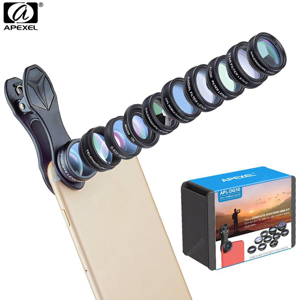 BLACK Apexel 10 In 1 Mobile Phone Lens Universal Clip Wide Angle Macro Fisheye Zoom Cpl Camera Lens Kit for iPhone 8/ Android Smartphone