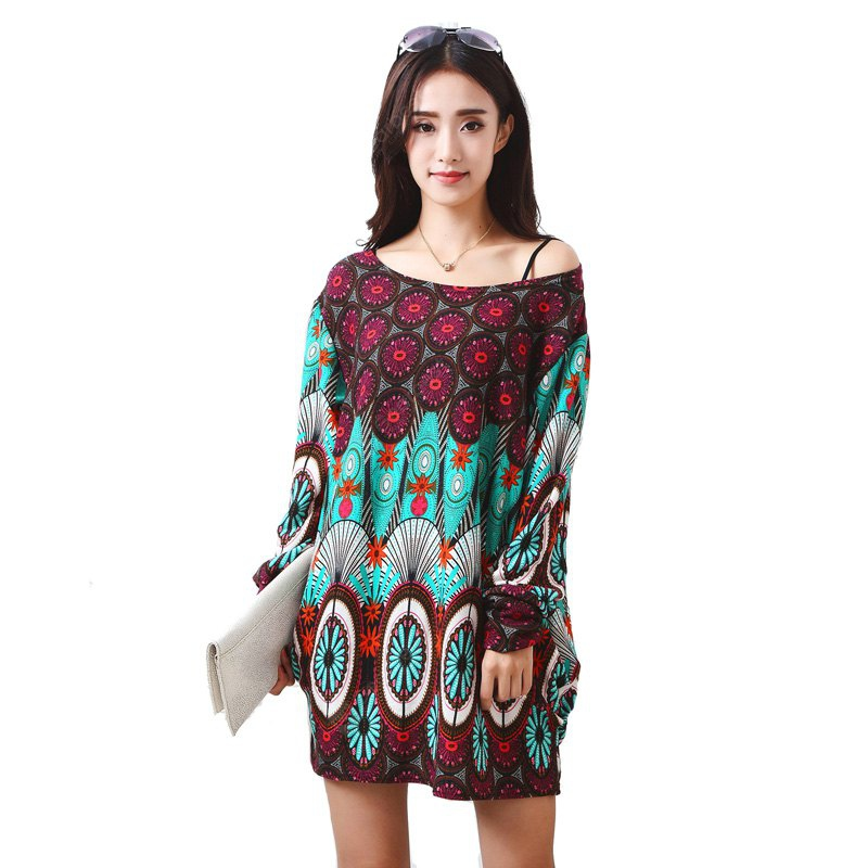 Plus Size Womens Long Sleeve Floral Loose Dress
