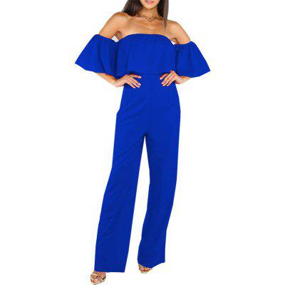 Buy BLUE M Womens Jumpsuit Slash Neck Off Shoulder Flare Sleeve Slim Sexy Jumpsuit for $25.77 in GearBest store