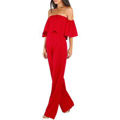 Buy RED M Womens Jumpsuit Slash Neck Off Shoulder Flare Sleeve Slim Sexy Jumpsuit for $20.99 in GearBest store