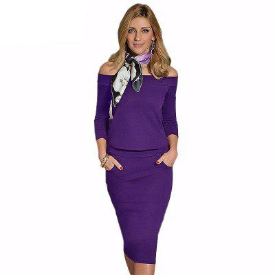 Womens Dress Slash Neck Long Sleeve Solid Sexy Dress