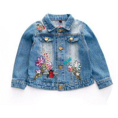 Buy CORNFLOWER 130 2017 Autumn New Childrens Clothing Girls Baby Butterfly Embroidered Denim Jacket Childrens Lapel Long Sleeved Coat for $28.61 in GearBest store