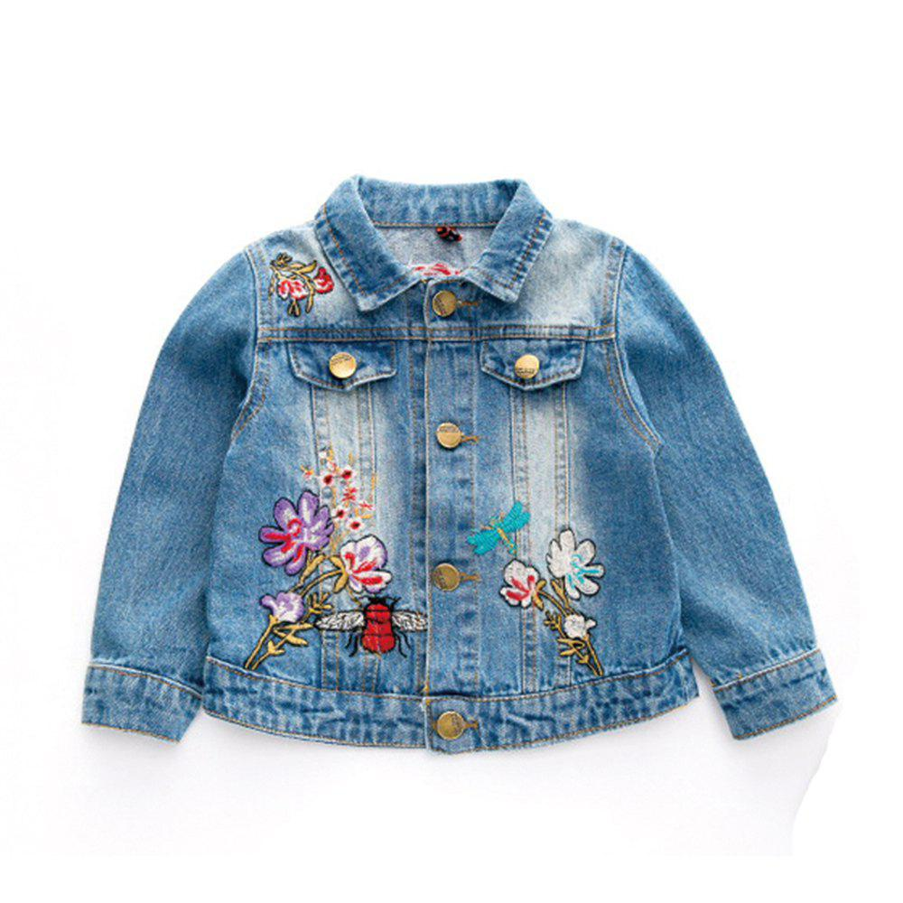 CORNFLOWER 90 2017 Autumn New Childrens Clothing Girls Baby Butterfly Embroidered Denim Jacket Childrens Lapel Long Sleeved Coat