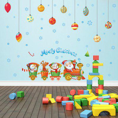 Buy COLORFUL Creative Santa Claus Train Christmas Decoration Window Wall Stickers for $6.59 in GearBest store