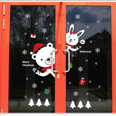 Buy COLORFUL Creative Christmas Bear Rabbit Decoration Window Wall Stickers for $5.90 in GearBest store