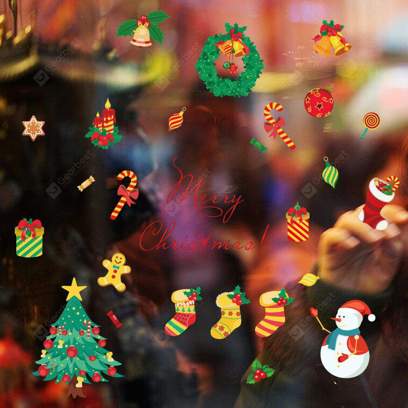 Christmas Tree Candy Snow Decoration Window Wall Stickers COLORFUL