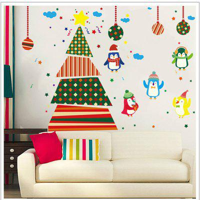 Buy COLORFUL Creative Christmas Tree Penguin Cartoon Decoration Window Wall Stickers for $5.90 in GearBest store