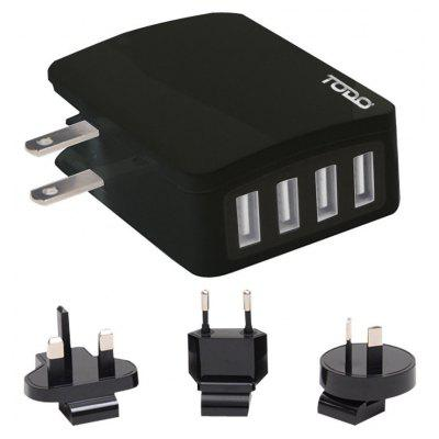 Todo Smart 4 Ports Travel Usb Charger with Universal Adapters