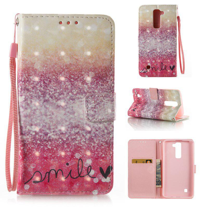 GOLD AND PINK 3D Painted Pu Phone Case for Lg K8 / K7