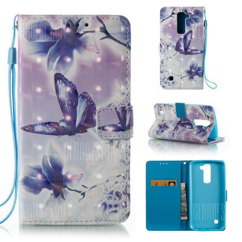 WHITE + PURPLE 3D Painted Pu Phone Case for Lg K8 / K7