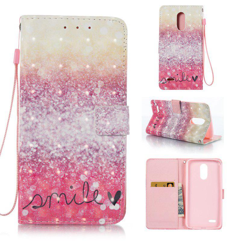GOLD AND PINK 3D Painted Pu Phone Case for Lg Stylus3