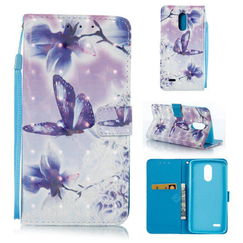 WHITE + PURPLE 3D Painted Pu Phone Case for Lg Stylus3