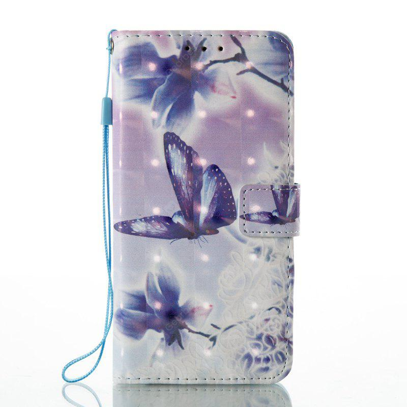WHITE + PURPLE 3D Painted Pu Phone Case for Huawei P8 Lite 2017
