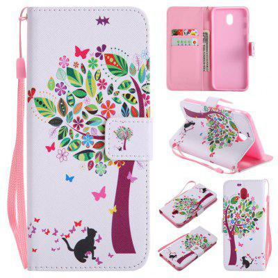 Buy WHITE AND GREEN Painted Pu Phone Case for Samsung Galaxy J730 for $5.24 in GearBest store