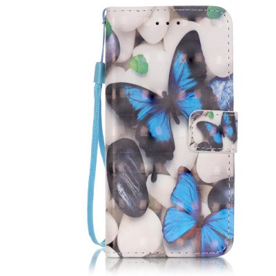 Buy WHITE + BLUE New 3D Painted Pu Phone Case for Iphone 6S / 6 for $4.76 in GearBest store