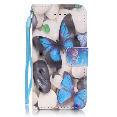 Buy WHITE + BLUE New 3D Painted Pu Phone Case for Iphone Se / 5S / 5 for $4.65 in GearBest store
