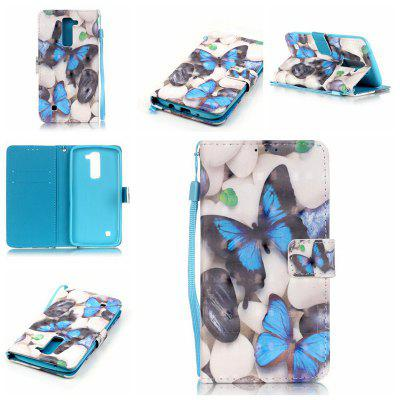 Buy WHITE + BLUE New 3D Painted Pu Phone Case for Lg K7 / K8 for $5.45 in GearBest store