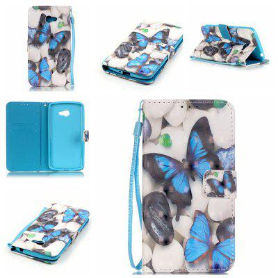 Buy WHITE + BLUE New 3D Painted Pu Phone Case for Lg K5 / Q6 / X220g for $5.52 in GearBest store